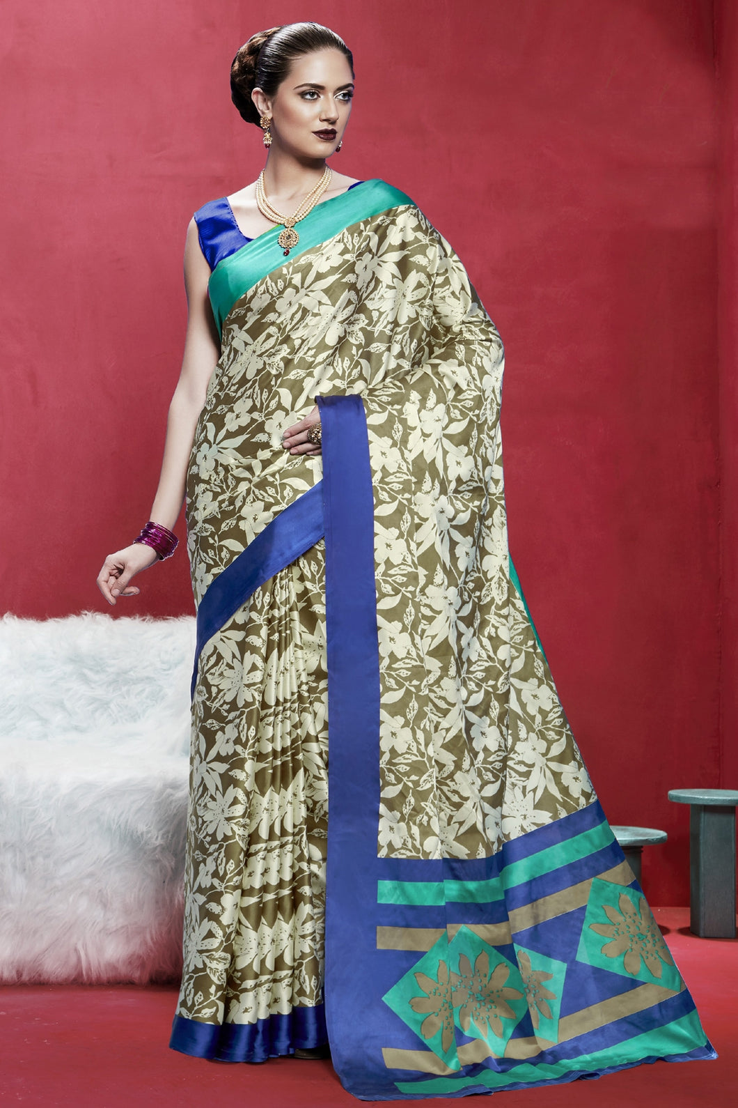 Bhelpuri Cream And Beige Japan Satin Crepe Printed Saree with Blouse Piece