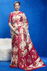 Bhelpuri Beige and Red Japan Satin Crepe Printed Saree with Blouse Piece