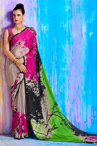 Bhelpuri Multi Colour Crepe Silk Printed Saree with Blouse Piece