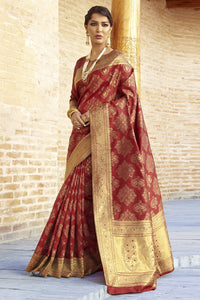 Bhelpuri Maroon and Gold Silk Woven Saree with Blouse Piece