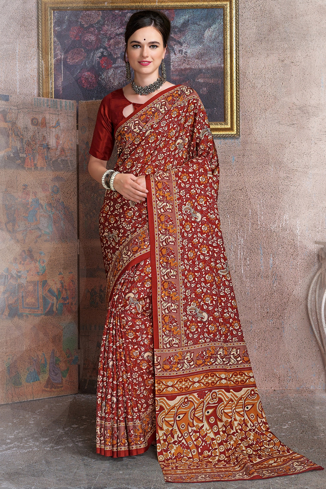 Bhelpuri Maroon Raw Silk Printed Saree with Blouse Piece