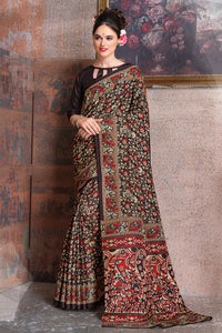 Bhelpuri Coffee Brown Raw Silk Printed Saree with Blouse Piece