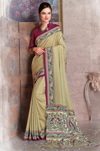 Bhelpuri Beige Raw Silk Printed Saree with Blouse Piece