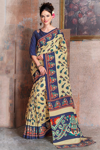 Bhelpuri Beige and Navy Blue Raw Silk Printed Saree with Blouse Piece