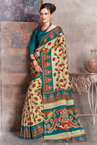 Bhelpuri Beige and Turquoise Green Raw Silk Printed Saree with Blouse Piece
