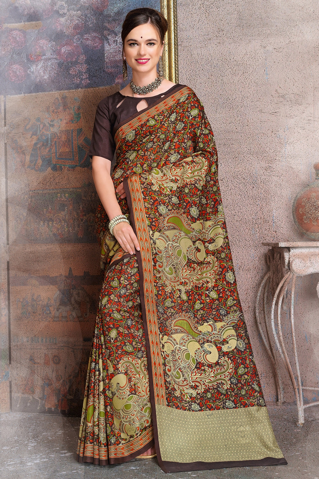 Bhelpuri Brown and Beige Raw Silk Printed Saree with Blouse Piece