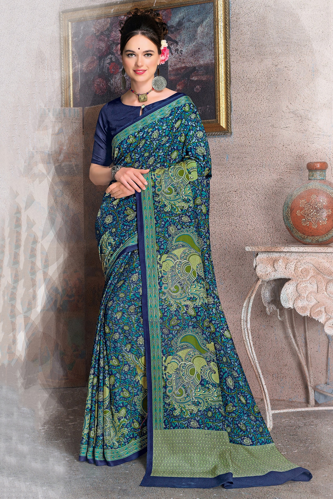 Bhelpuri Navy Blue Raw Silk Printed Saree with Blouse Piece