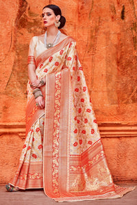 Bhelpuri Cream and Red Raw Silk Woven Saree with Blouse Piece