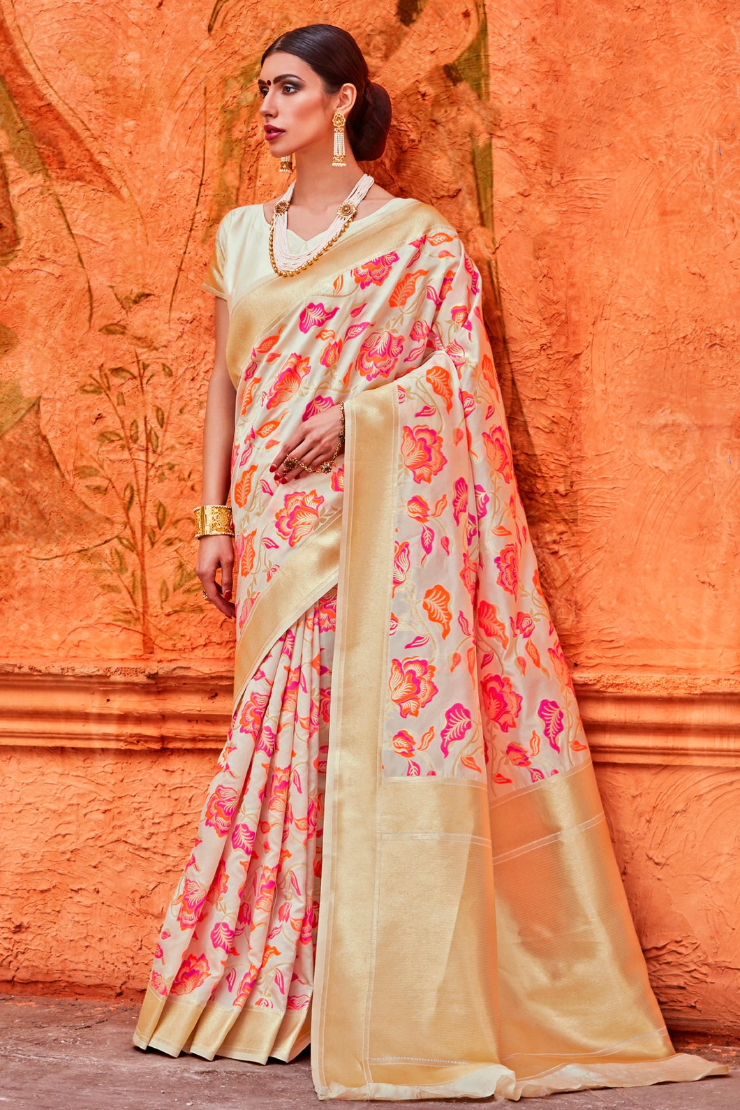Bhelpuri Cream and Pink Raw Silk Woven Saree with Blouse Piece