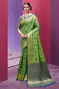 Bhelpuri Green and Gold Patola Silk Woven Saree with Blouse Piece