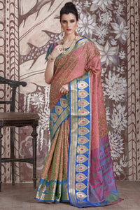 Bhelpuri Pink and Blue Dhoop Chhaon Banarasi Muslin Silk Woven Saree with Blouse Piece