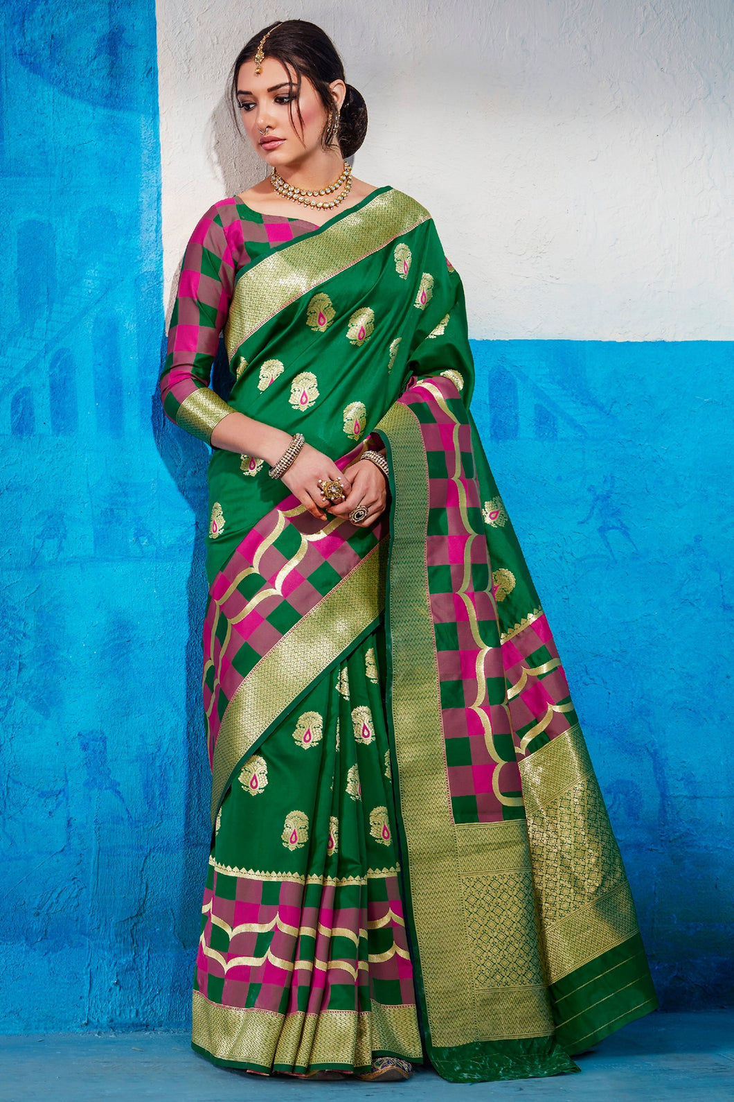 Bhelpuri Green Tussar Silk Woven Saree with Blouse Piece