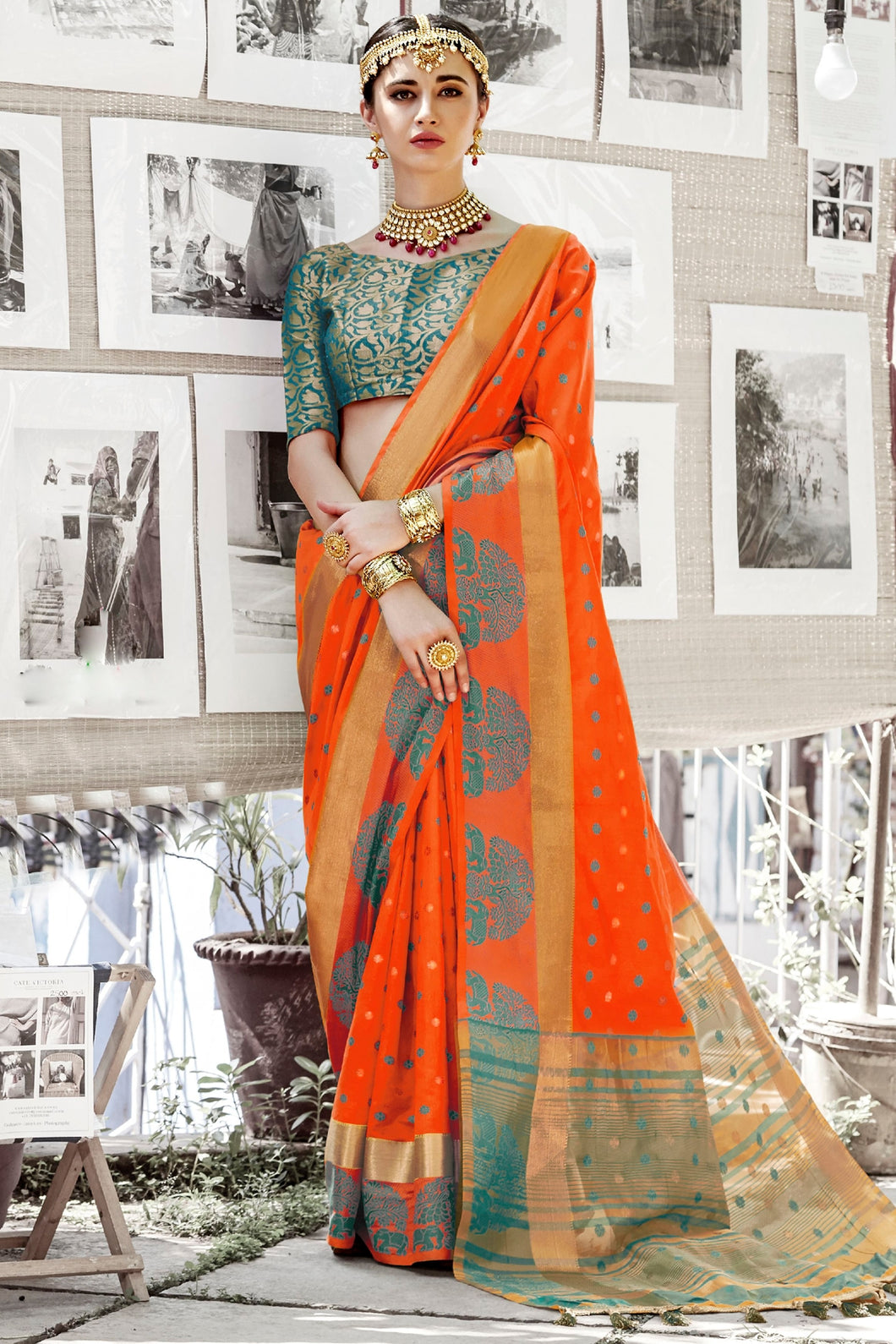 Bhelpuri Orange Cotton Silk Woven Saree with Blouse Piece