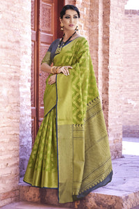 Bhelpuri Green and Gold Weaving Silk Woven Saree with Blouse Piece