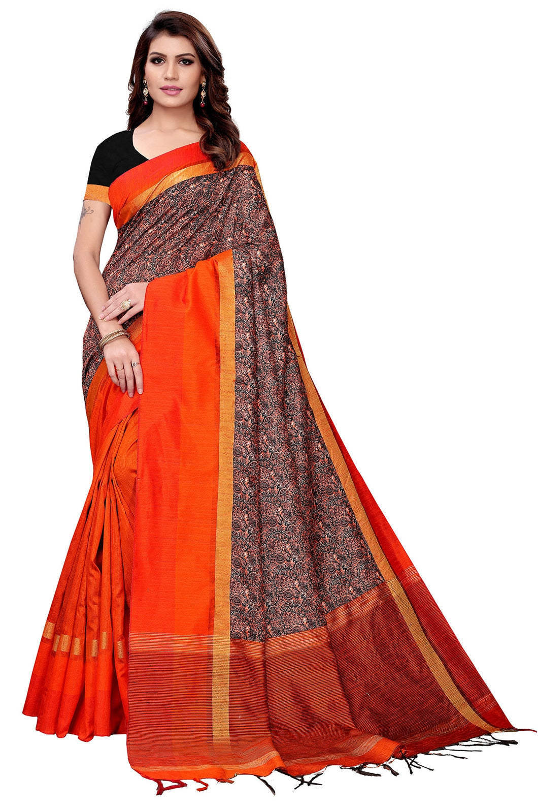 Bhelpuri Dark Orange Handloom Cotton Silk Saree