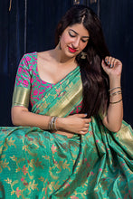 Load image into Gallery viewer, Bhelpuri Green Banarasi Silk Woven Saree with Blouse Piece