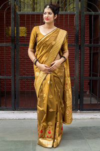 Bhelpuri Mustard Banarasi Silk Woven Saree with Blouse Piece
