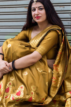 Load image into Gallery viewer, Bhelpuri Mustard Banarasi Silk Woven Saree with Blouse Piece