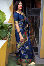Load image into Gallery viewer, Bhelpuri Navy Blue Banarasi Silk Woven Saree with Blouse Piece