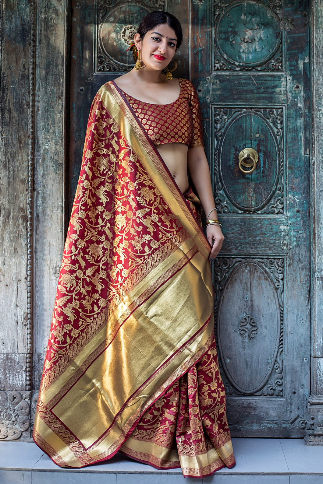 Bhelpuri Maroon and Gold Banarasi Silk Woven Saree with Blouse Piece