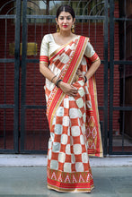 Load image into Gallery viewer, Bhelpuri Cream and Red Banarasi Silk Woven Saree with Blouse Piece