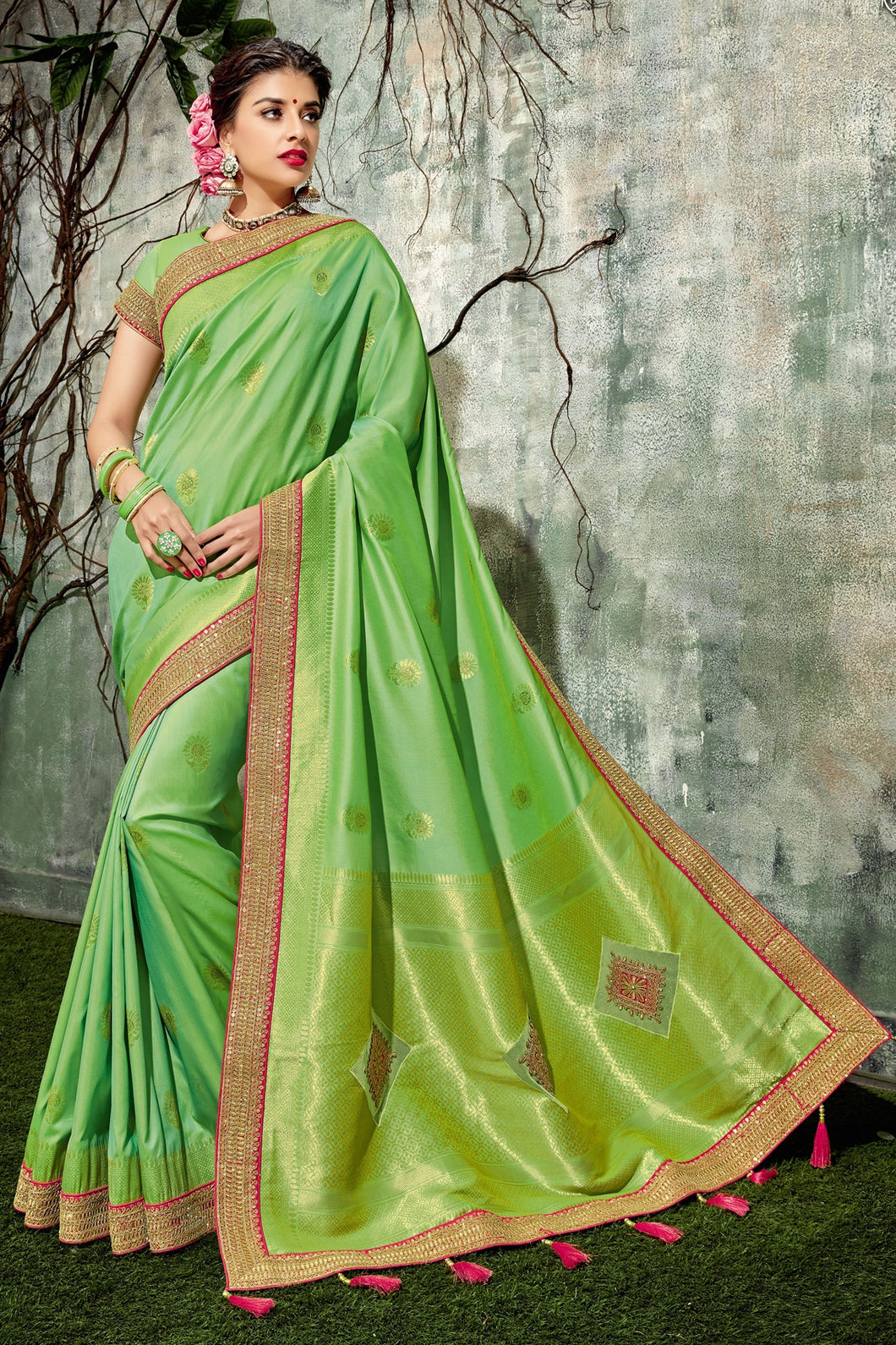 Bhelpuri Light Green Silk Tassel Woven Designer Party Wear Saree with Silk Embroidered Blouse Piece
