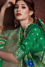 Load image into Gallery viewer, Bhelpuri Green Maher Silk Saree