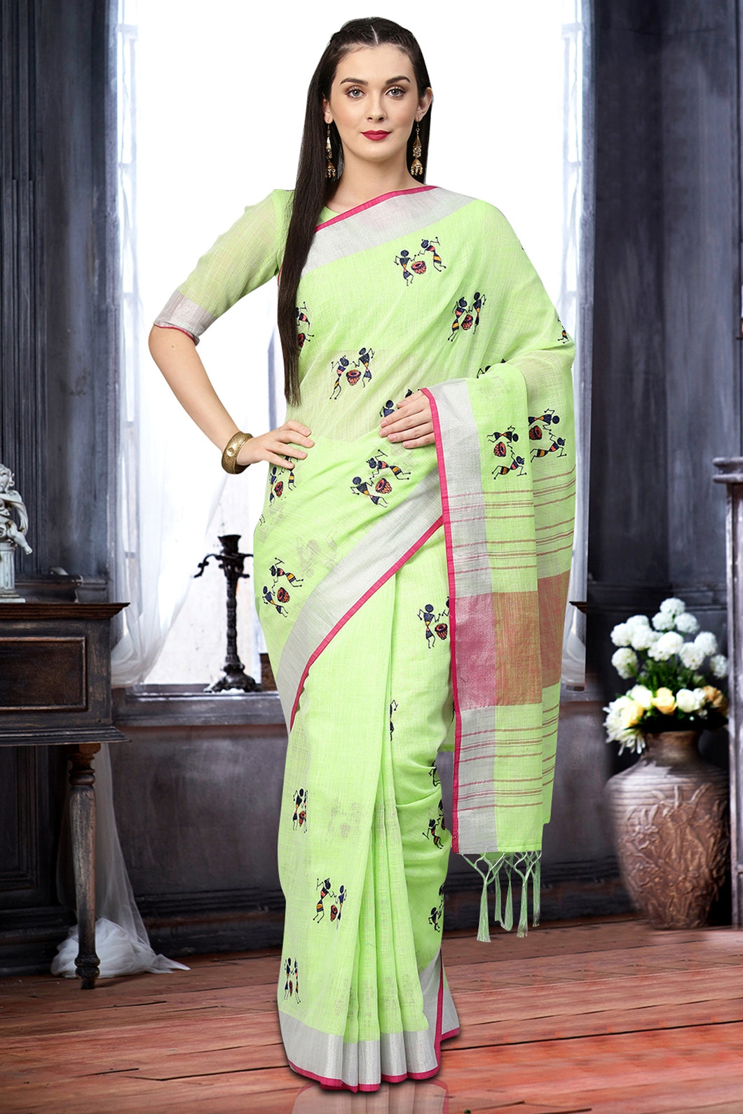 Bhelpuri Light Green Linen Printed Tassel Saree with Linen Blouse Piece