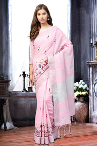Bhelpuri Baby Pink Linen Printed Tassel Saree with Linen Blouse Piece
