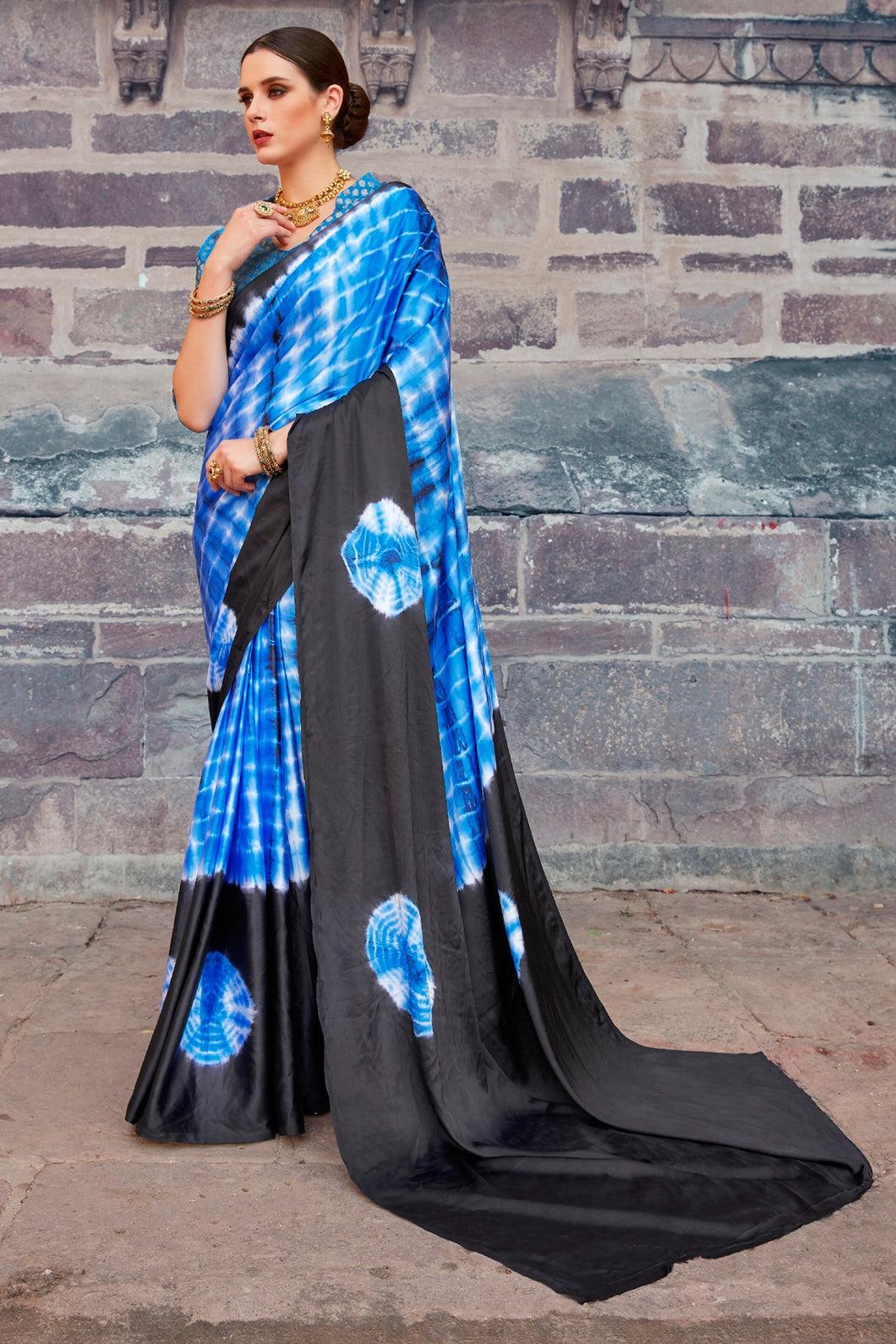 Bhelpuri Black And Blue Nylon Satin Printed Saree with Blouse Piece