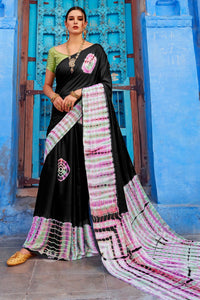 Bhelpuri Black Nylon Satin Printed Saree with Blouse Piece