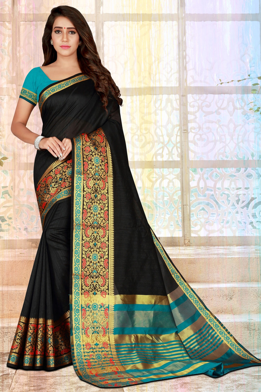 Bhelpuri Black Cotton Silk Zari Woven Saree with Blouse Piece