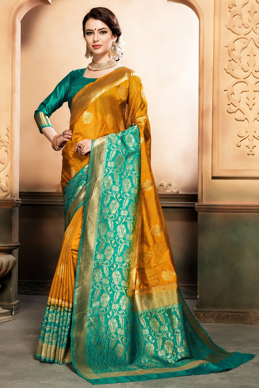Bhelpuri Mustard and Green Tussar Silk Woven Saree with Blouse Piece