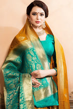 Load image into Gallery viewer, Bhelpuri Mustard and Green Tussar Silk Woven Saree with Blouse Piece