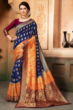 Load image into Gallery viewer, Bhelpuri Blue and Orange Tussar Silk Woven Saree with Blouse Piece