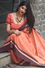 Load image into Gallery viewer, Bhelpuri Peach Cotton Slub Woven Saree with Tassels and Blouse Piece