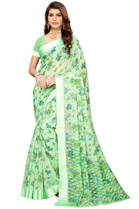Bhelpuri Light Green Linen Saree