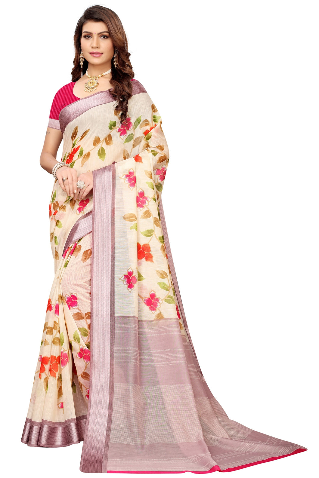 Bhelpuri Cream Linen Saree