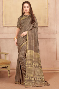 Bhelpuri Brown Dhakai Silk Saree