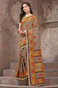 Bhelpuri Beige Silk Printed Saree with Blouse Piece