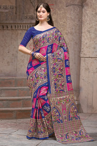 Bhelpuri Multi Colour Silk Printed Saree with Blouse Piece