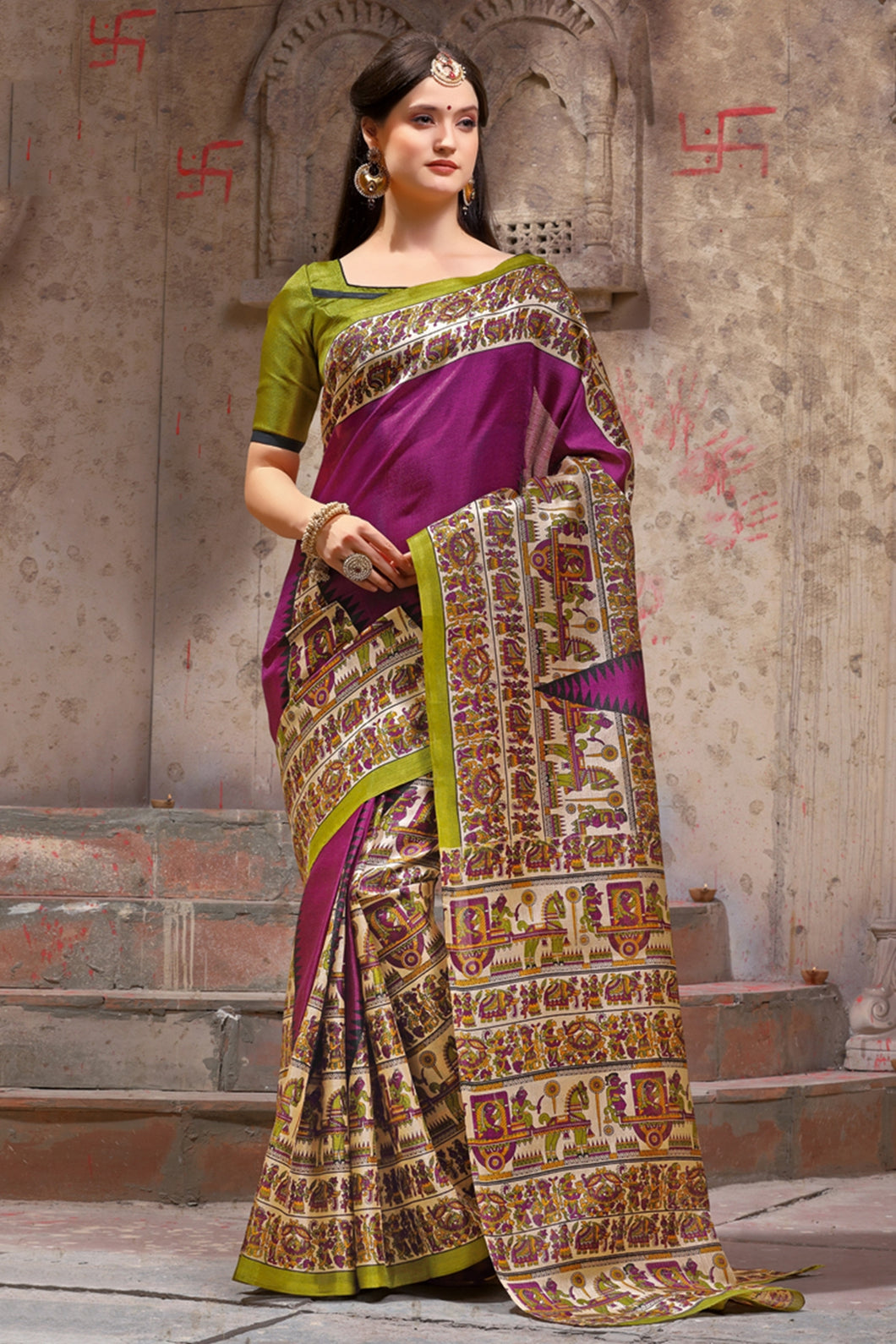 Bhelpuri Magenta and Cream Silk Printed Saree with Blouse Piece