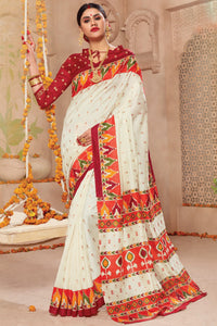 Bhelpuri Cream & Red Patola Silk Saree