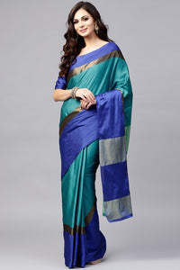 Bhelpuri Green and Blue Silk Saree with Blouse Piece