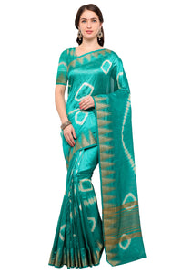 Bhelpuri Green Raw Silk Hand Dyed Saree with Blouse Piece