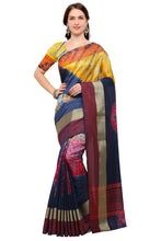 Load image into Gallery viewer, Bhelpuri Navy Blue Raw Silk Hand Dyed Saree with Blouse Piece