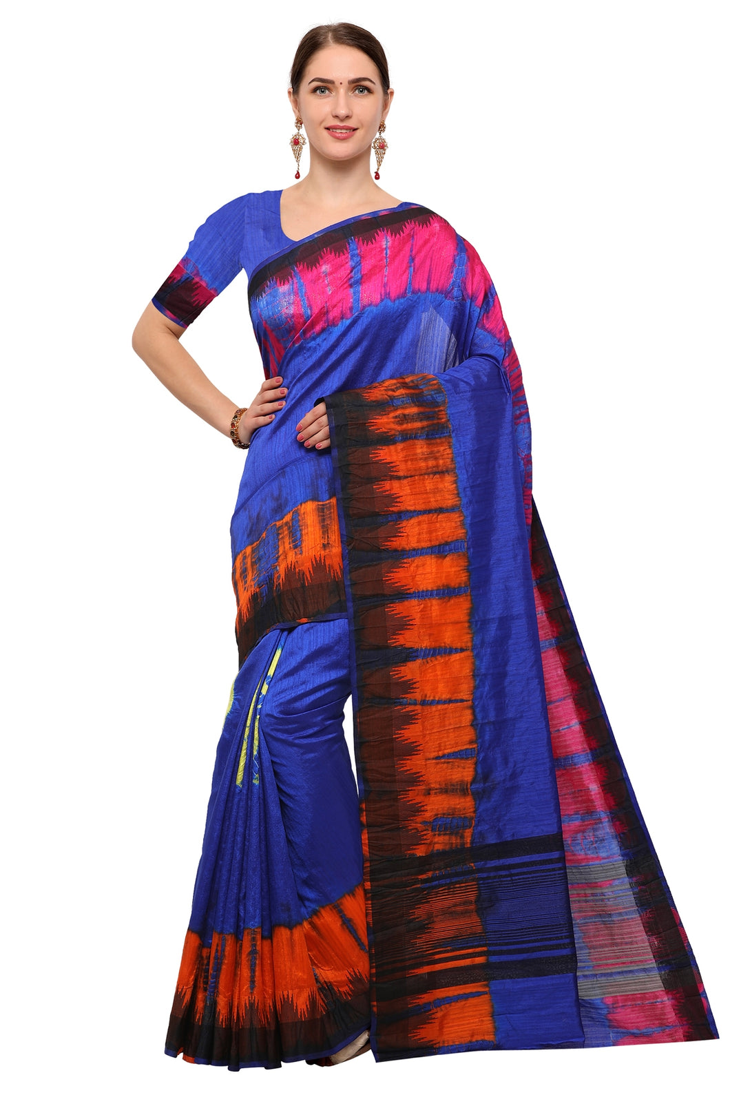 Bhelpuri Blue Raw Silk Hand Dyed Saree with Blouse Piece