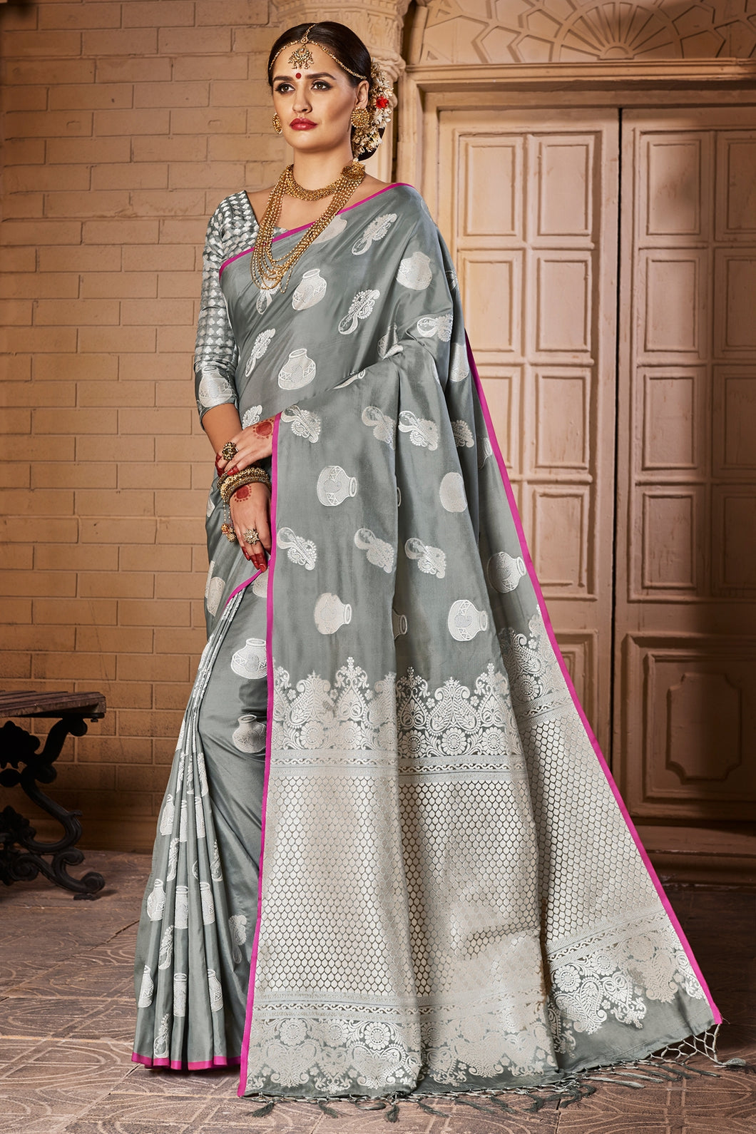 Bhelpuri Grey and Silver Raw Silk Woven Saree with Blouse Piece