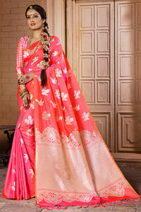 Bhelpuri Light Pink and Silver Raw Silk Woven Saree with Blouse Piece