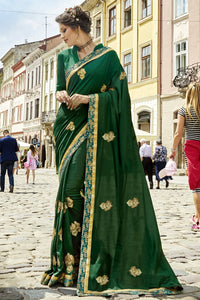 Bhelpuri Green Georgette Embroidered Saree with Blouse Piece